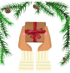 hands holding christmas gift vector image vector image