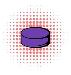 Hockey puck icon comics style vector image vector image