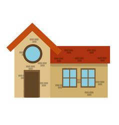 House home brick round window brick architecture vector