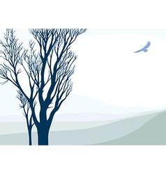 Landscape with flying eagle vector