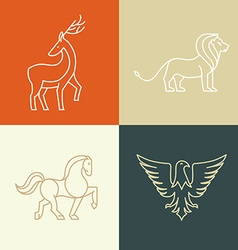 linear icons and logo design elements vector image vector image