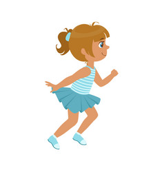 little girl running in a blue dress kid in a vector image vector image