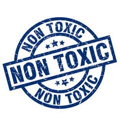 Non toxic blue round grunge stamp vector