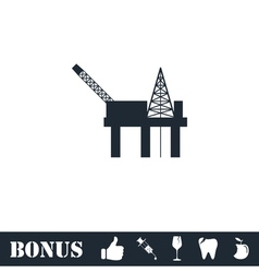 Oil platform icon flat vector image