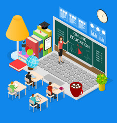online education concept 3d isometric view vector image vector image