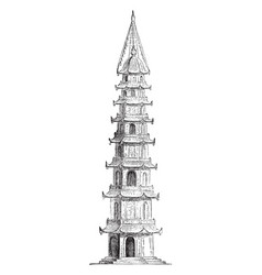 Porcelain tower 15th century vintage engraving vector