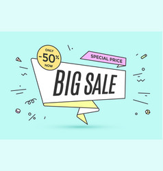 Ribbon banner with text big sale vector