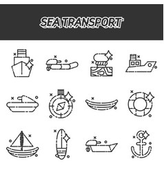 Sea transport cartoon concept icons vector