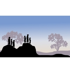 Silhouette of meerkat family vector