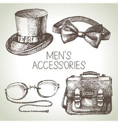 Sketch gentlemen accessories hand drawn men set vector