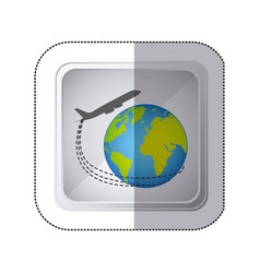 sticker silver square button with airplane around vector image