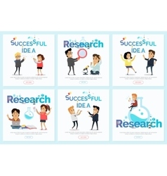 Successful idea and research banners set vector