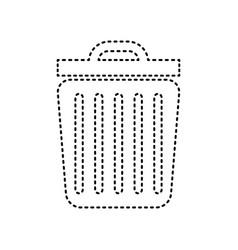 trash sign black dashed icon vector image
