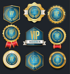 Vip golden label collection vector