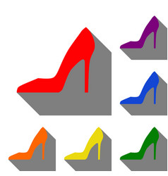 woman shoe sign set of red orange yellow green vector image vector image
