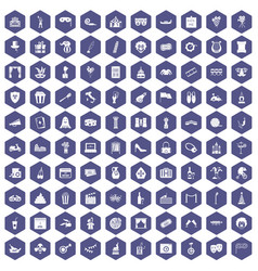 100 mask icons hexagon purple vector