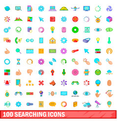 100 searching icons set cartoon style vector image