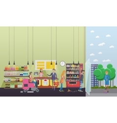 People cleaning store while customers shopping vector