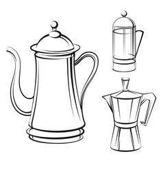 Coffee pot sketch set vector