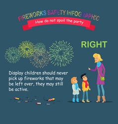 Fireworks safety infographic teaching children vector