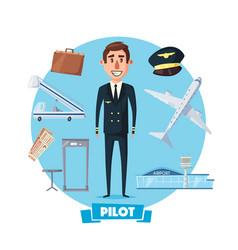 Pilot profession man and flight items vector