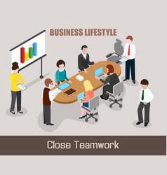 Flat isometric business people vector