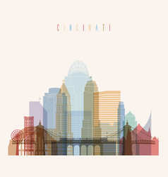 cincinnati state ohio skyline detailed silhouette vector image