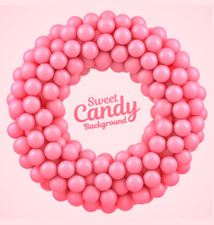 Pink candy balls round frame with place for your vector
