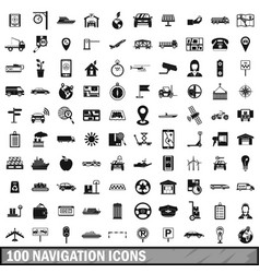 100 navigation icons set simple style vector image