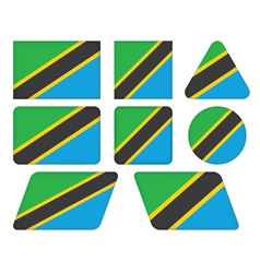 Buttons with flag of tanzania vector