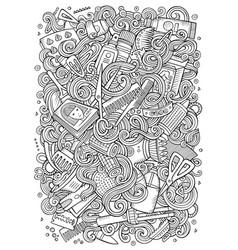 Cartoon doodles hair salon vector