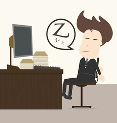 Businessman fall sleep at working place vector