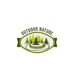 Outdoor nature and green ecology label design vector