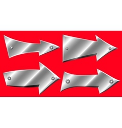 Set of metal arrows with rivets on red background vector