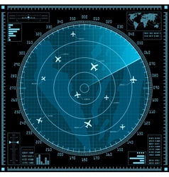 Blue radar screen with planes vector