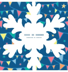 Colorful doodle bunting flags christmas snowflake vector