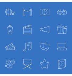 Cinema thin lines icons set vector