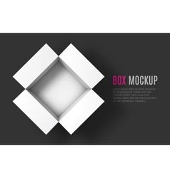 Open box mockup template top view vector
