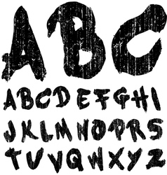 Hand drawn brush font grungy vector