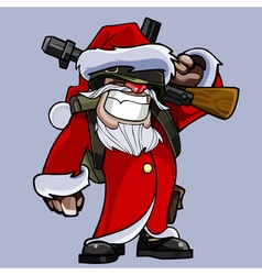 Cartoon soldiers dressed as santa claus vector