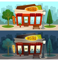 Cafe bistro building exterior with cityscape day vector