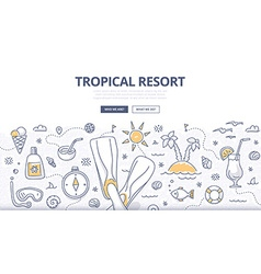 Tropical Resort Doodle Concept vector image