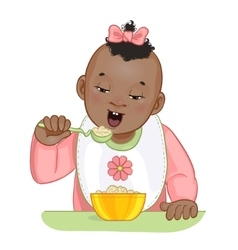 African american baby girl with spoon and plate vector