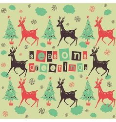 Vintage deer seasons greetings vector