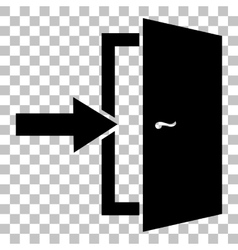 Door exit sign flat style black icon on vector