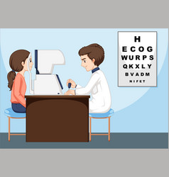 Eye doctor and patient in the clinic vector