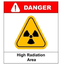 Octagon yellow and black caution with radiation vector