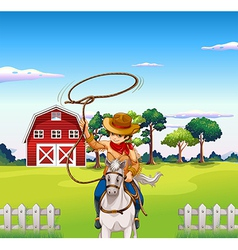 A young cowboy in the ranch vector