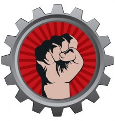 badge fist vector image vector image