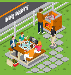 bbq party isometric composition vector image vector image